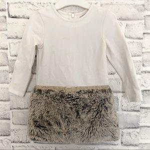 Lili Gaufrette little Girl White Fur Dress 18month